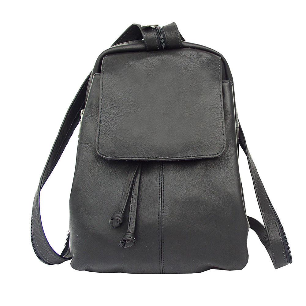 Piel Small Drawstring Backpack - Black - Handbags, Leather Handbags