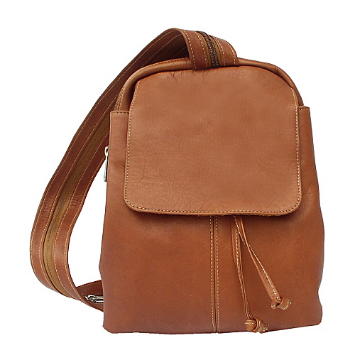Piel Small Drawstring Backpack - Saddle
