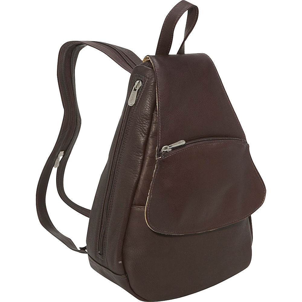 Piel Flap-Over Sling - Chocolate - Handbags, Leather Handbags