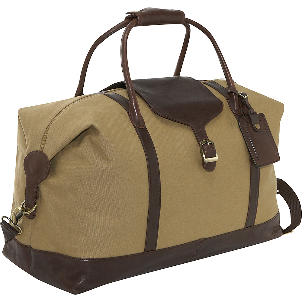 Clava Canvas 21 Overnighter w/ Leather Trim - Khaki - Duffels, Travel Duffels
