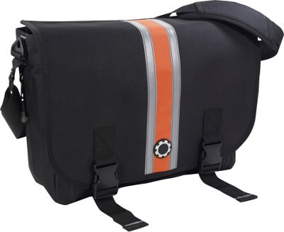 DadGear Messenger Diaper Bag Center Stripe - Orange