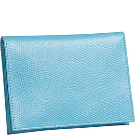 Lizard Print Calf Large Passport Case Blue