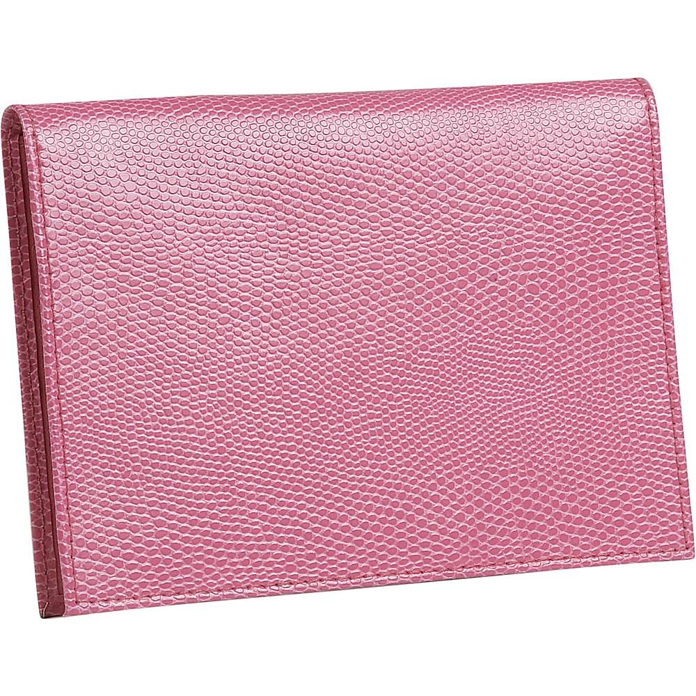 Budd Leather Lizard Print Calf Large Passport Case Pink Budd Leather Travel Wallets
