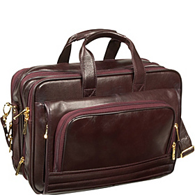 Leather Expandable Soft Brief/Computer Case Burgundy