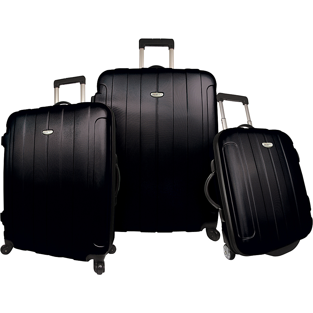 Traveler's Choice Rome 3-Piece Hardshell Spinner/Rolling Luggage Set Black - Traveler's Choice Luggage Sets