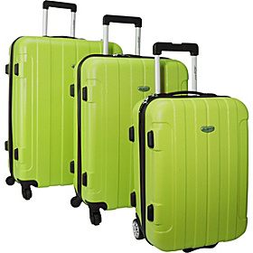 Rome 3-Piece Hardshell Spinner/Rolling Luggage Set Green