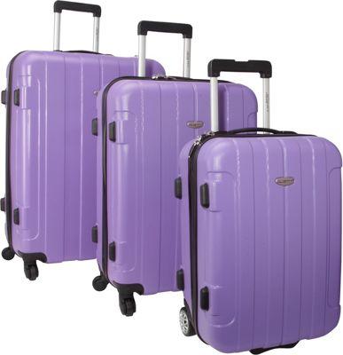Traveler's Choice Rome 3-Piece Hardshell Spinner/Rolling Luggage Set Purple - Traveler's Choice Luggage Sets