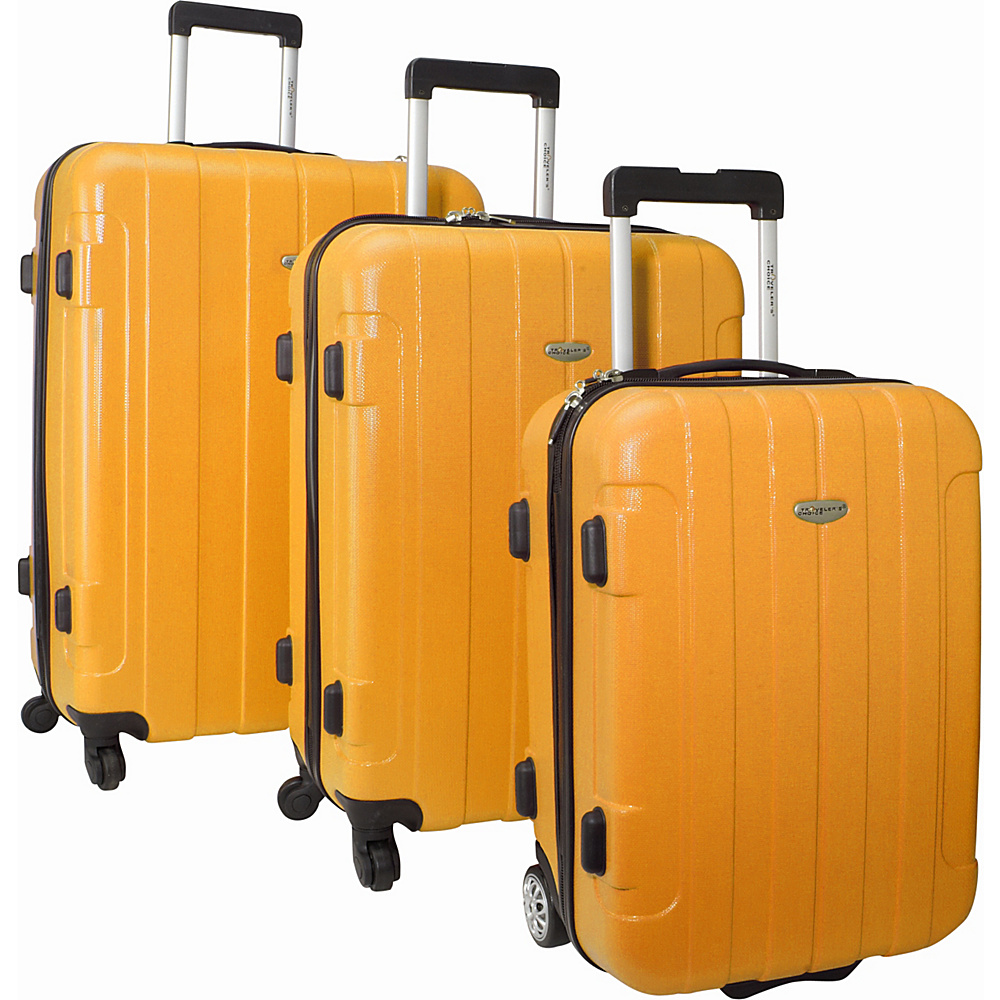 Traveler's Choice Rome 3-Piece Hardshell Spinner/Rolling Luggage Set Orange - Traveler's Choice Luggage Sets