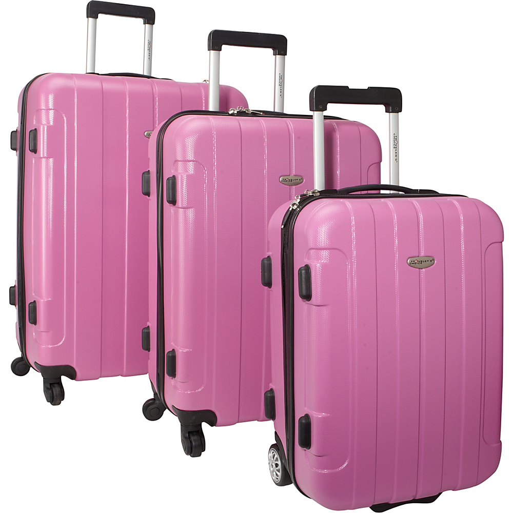 Traveler's Choice Rome 3-Piece Hardshell Spinner/Rolling Luggage Set Pink - Traveler's Choice Hardside Luggage