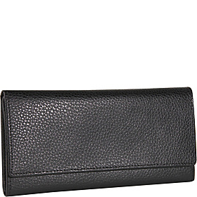 Pebble Grained Leather Continental Wallet Black