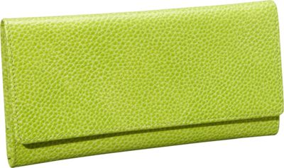 Budd Leather Pebble Grained Leather Continental Wallet Lime Green - Budd Leather Women's Wallets