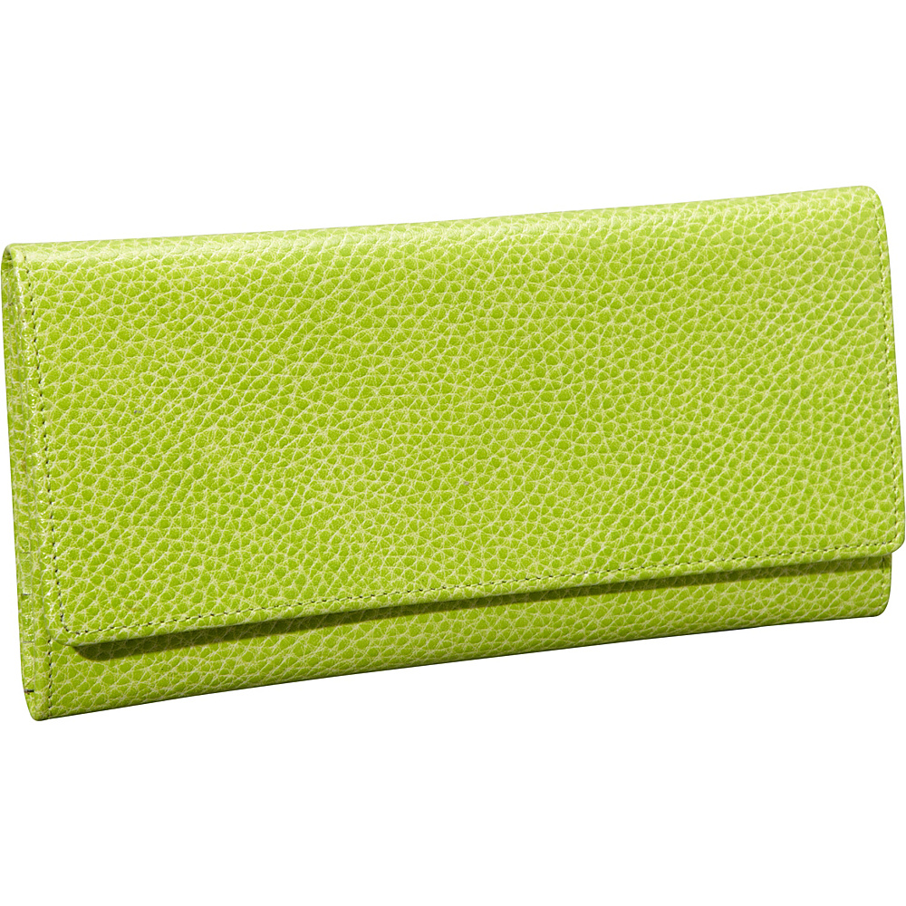 Budd Leather Pebble Grained Leather Continental Wallet Lime Green Budd Leather Women s Wallets