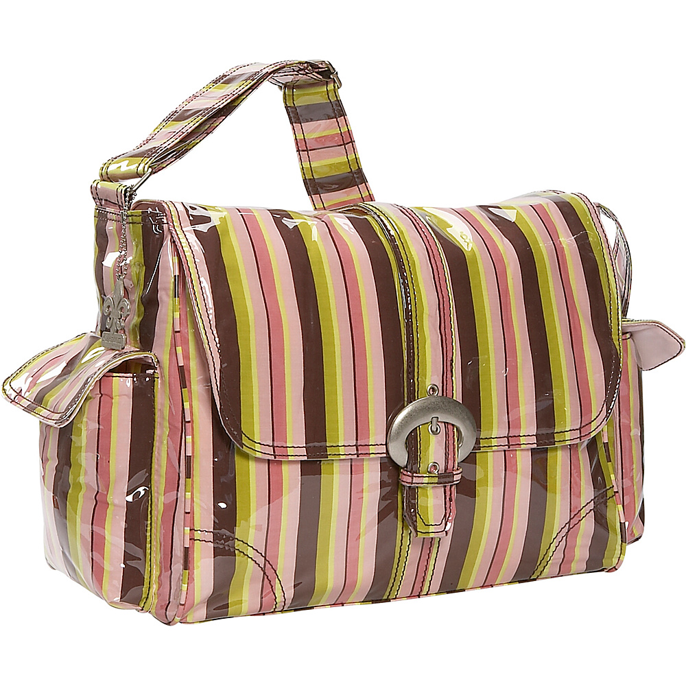 Kalencom Laminated Buckle Diaper Bag - Monkey Stripes - Handbags, Diaper Bags & Accessories