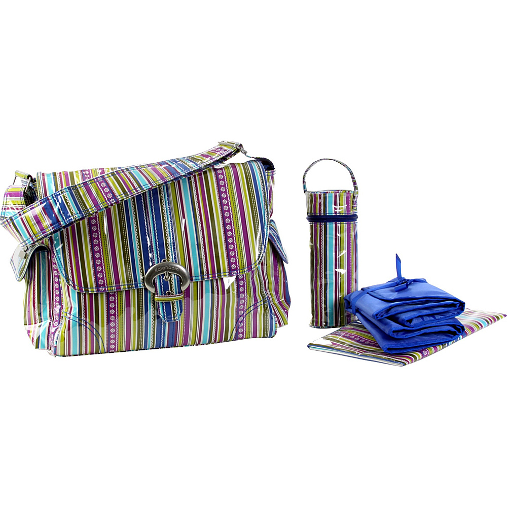Kalencom Laminated Buckle Diaper Bag - Cobalt Stripes - Handbags, Diaper Bags & Accessories
