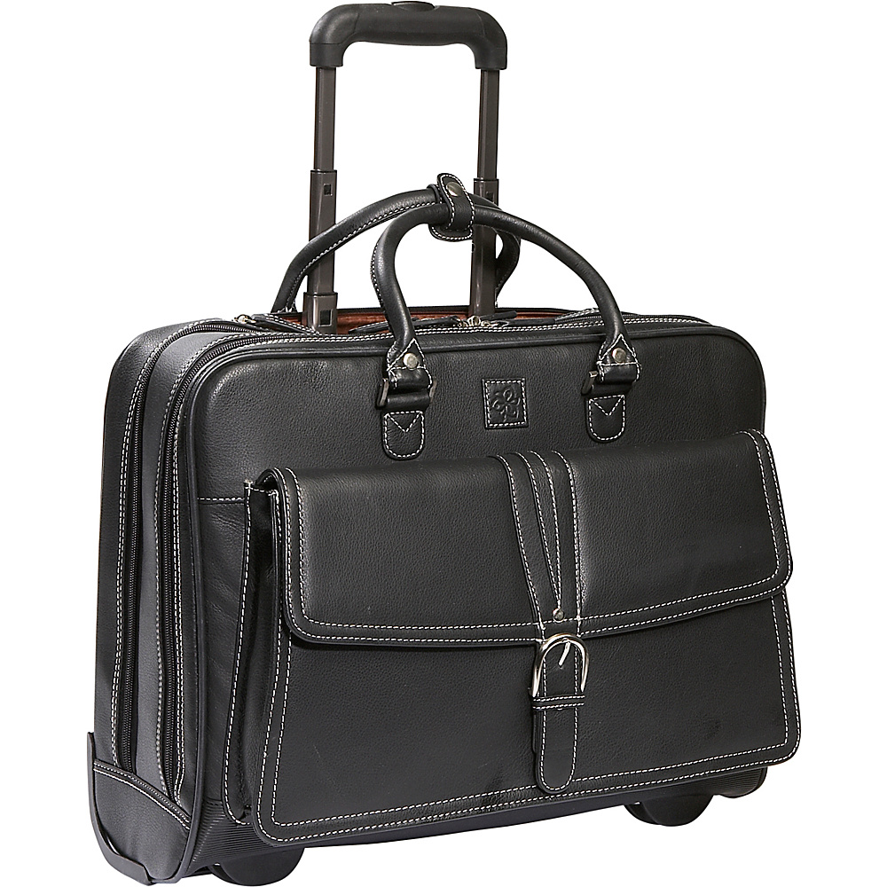 Clark & Mayfield Stafford Rolling Leather Tote 17 - Work Bags & Briefcases, Wheeled Business Cases