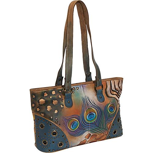 Anuschka Double Entry Shopper - Premium Peacock Safari Premium Peacock Safari - Anuschka Leather Handbags