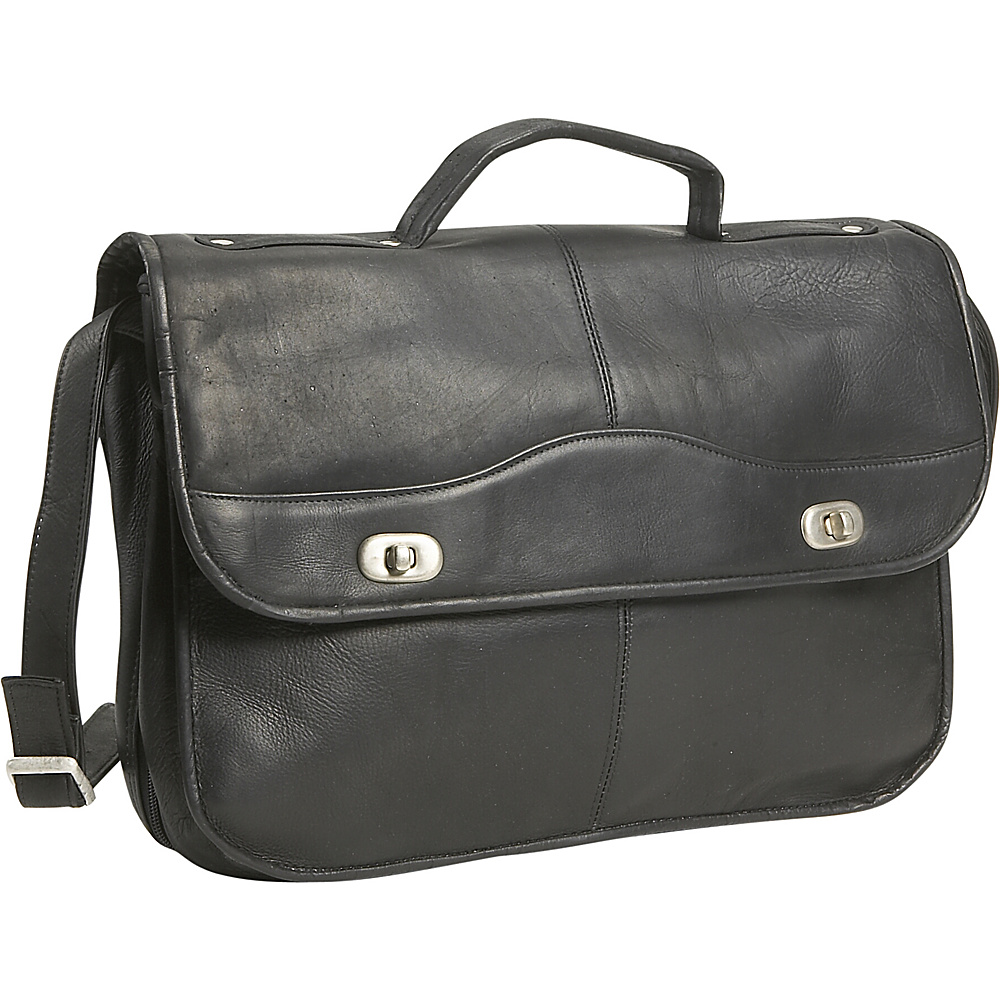 David King & Co. 1/2 Flapover Briefcase - Black - Work Bags & Briefcases, Non-Wheeled Business Cases