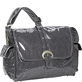 Crystals Laminated Buckle Bag Black Crystals