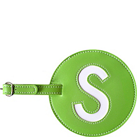 Leather Initial 'S' Luggage Tag Set of 2 Green
