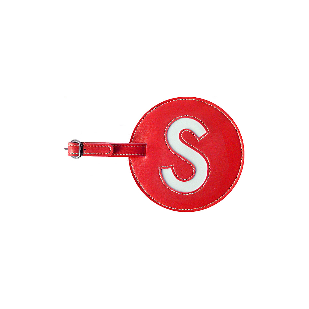 pb travel Initial S Luggage Tag Set of 2 Red pb travel Luggage Accessories