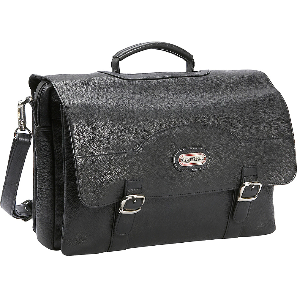 Leatherbay Stanford Leather Briefcase - Black - Work Bags & Briefcases, Non-Wheeled Business Cases