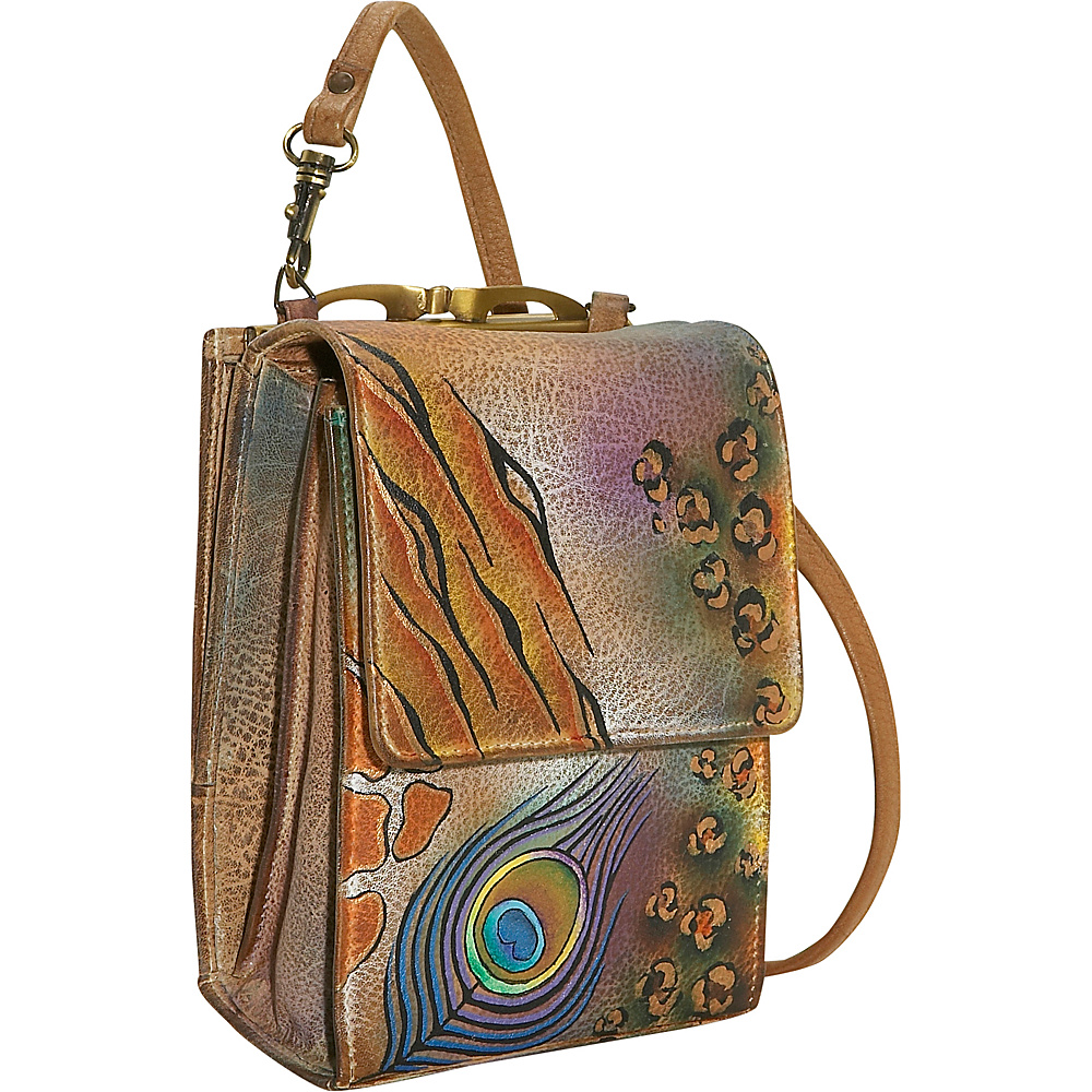 Anuschka Mini Sling Organizer-Premium Peacock Safari - - Handbags, Leather Handbags