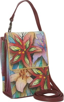 Anuschka Mini Sling Organizer Luscious Lilies - Anuschka Leather Handbags