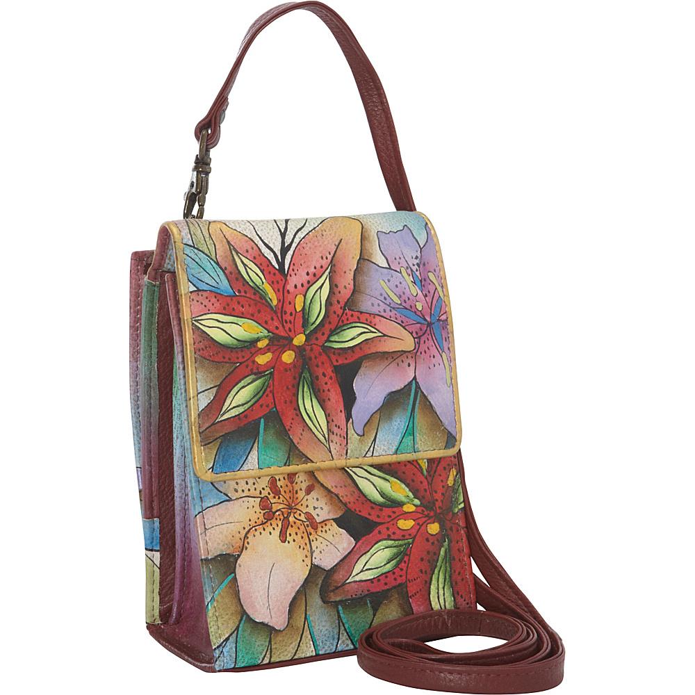 Anuschka Mini Sling Organizer Luscious Lilies Anuschka Leather Handbags