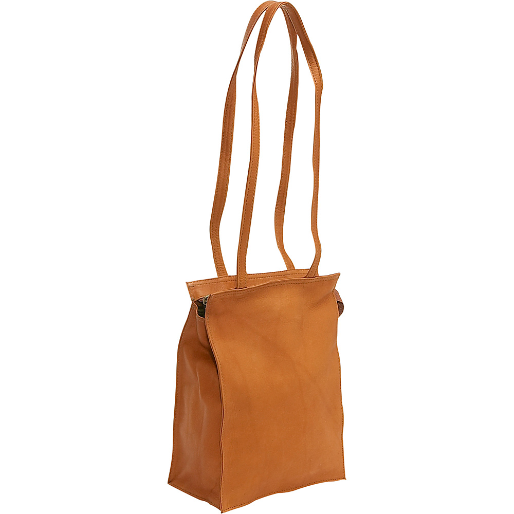 Le Donne Leather Zip Top Tote - Tan - Handbags, Leather Handbags