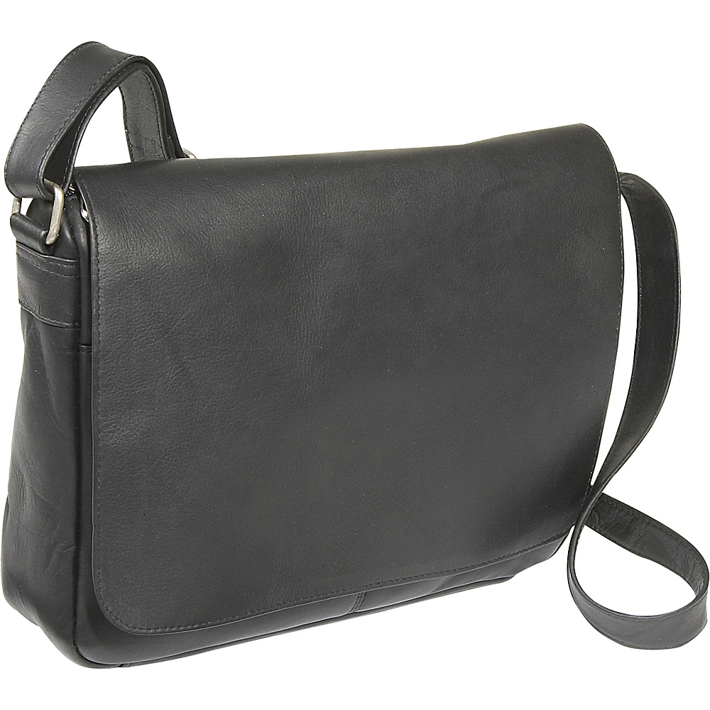 Le Donne Leather Flap Over Shoulder Bag - Black - Handbags, Leather Handbags