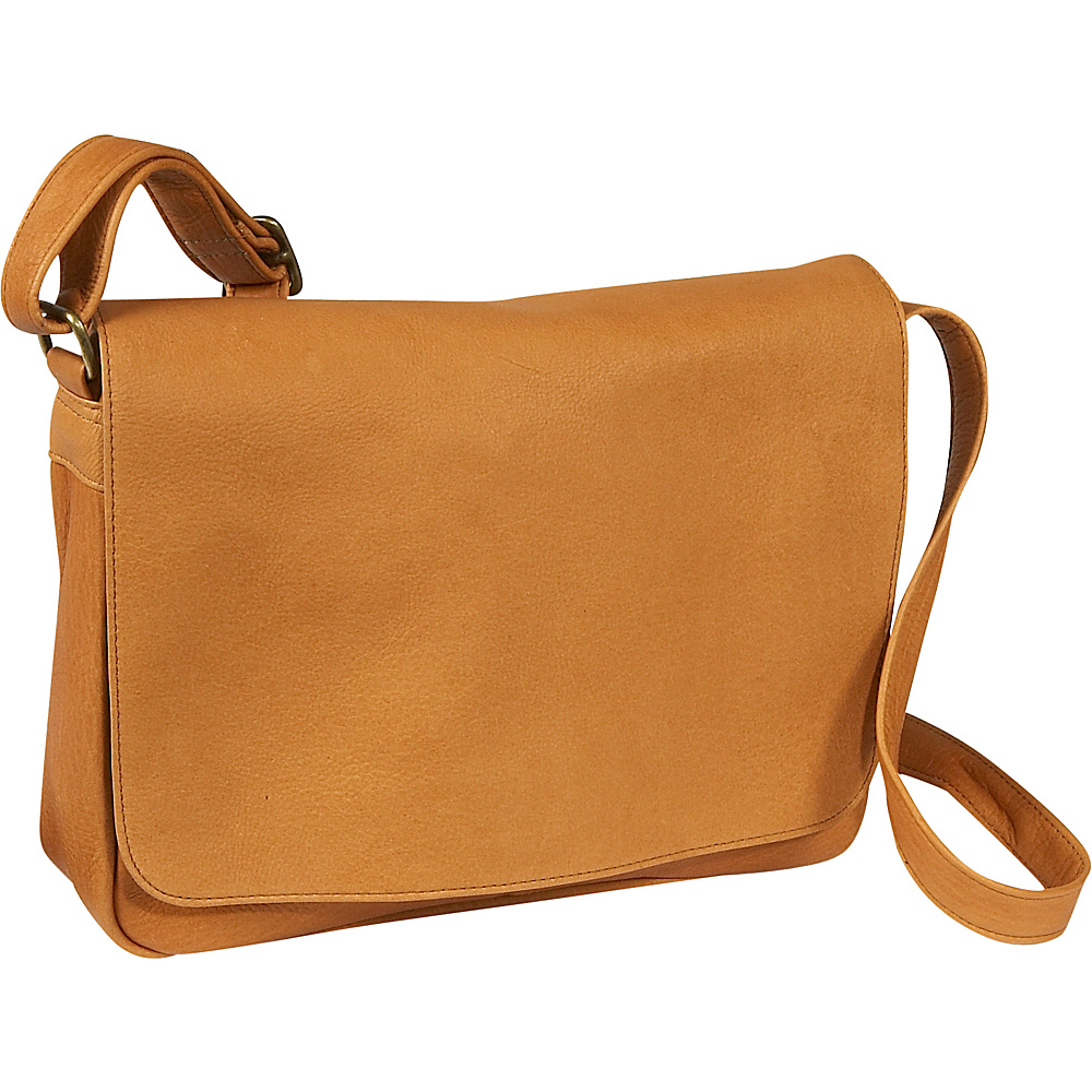 Le Donne Leather Flap Over Shoulder Bag - Tan - Handbags, Leather Handbags