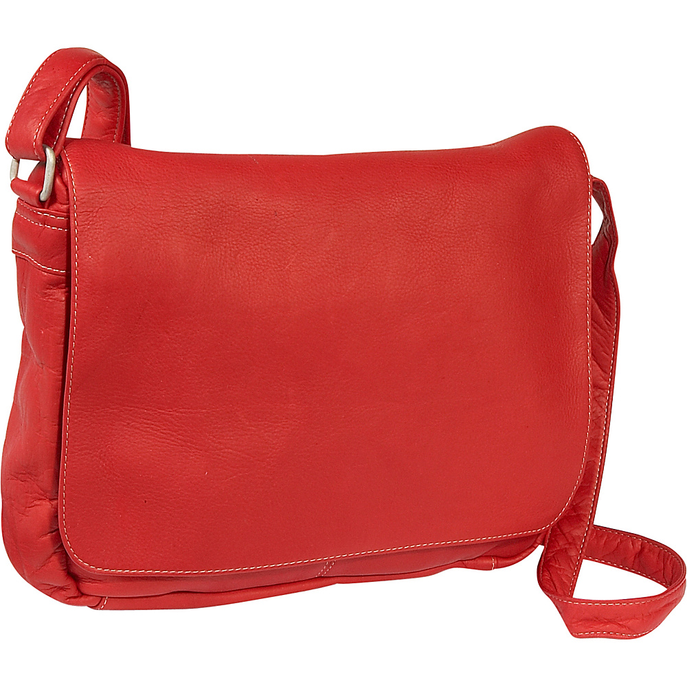 Le Donne Leather Flap Over Shoulder Bag - Red - Handbags, Leather Handbags