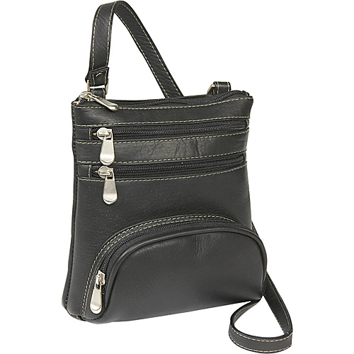 Le Donne Leather Front Pocket Cross Body - Black