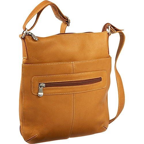 Le Donne Leather Vertical Crossbody Bag - Tan