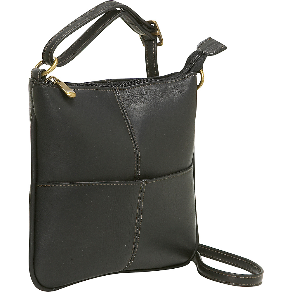 Le Donne Leather Front Pocket Cross Body - Black - Handbags, Leather Handbags