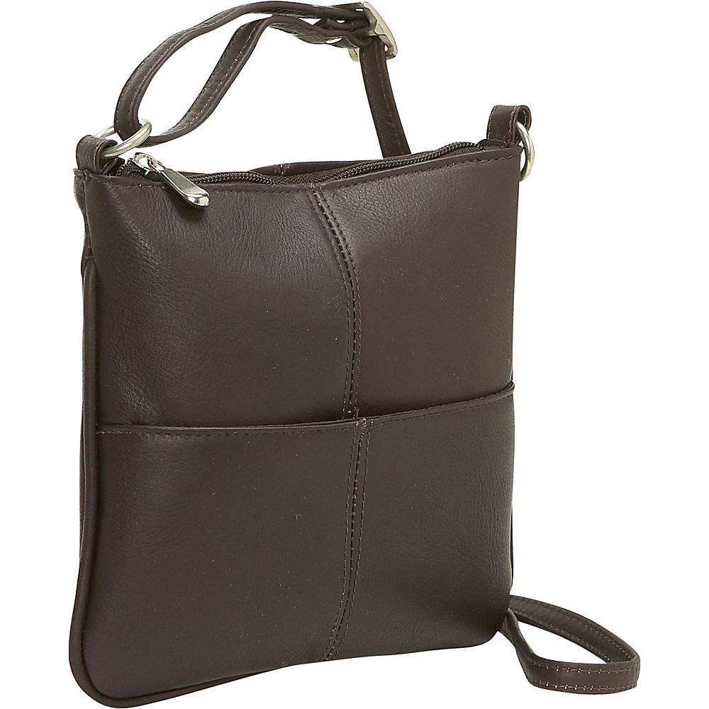 Le Donne Leather Front Pocket Cross Body - Caf - Handbags, Leather Handbags