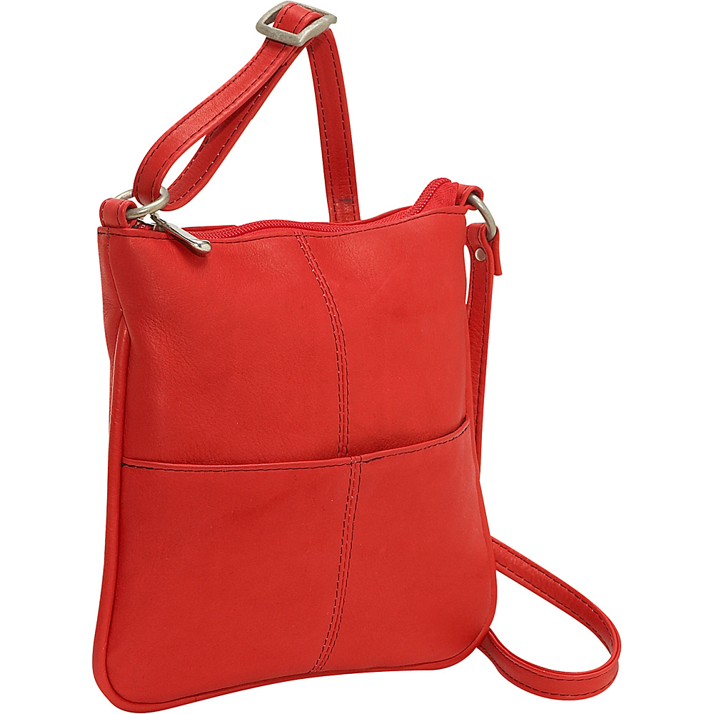 Le Donne Leather Front Pocket Cross Body - Red - Handbags, Leather Handbags
