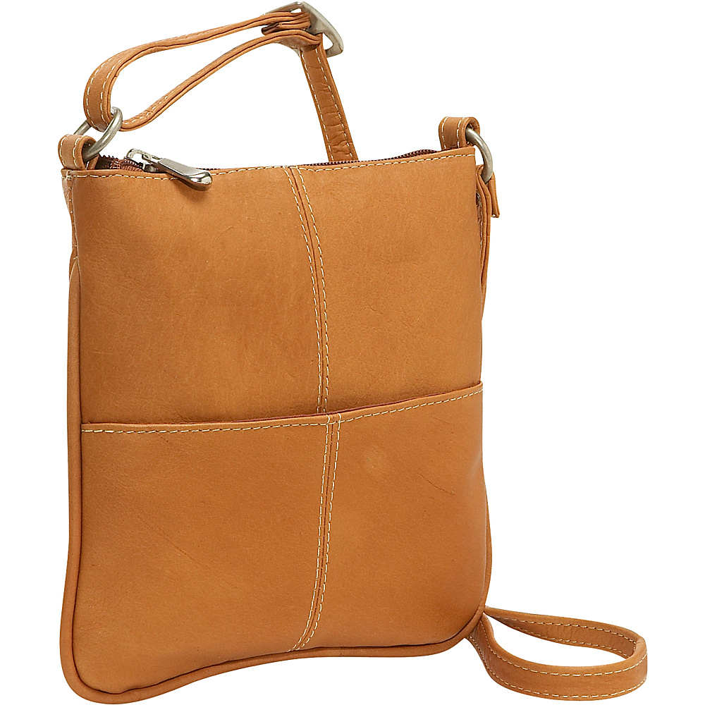 Le Donne Leather Front Pocket Cross Body - Tan - Handbags, Leather Handbags