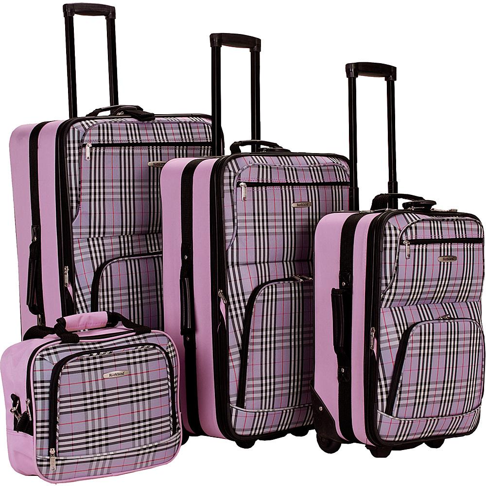 Rockland Luggage 4 Piece Expandable Luggage Set Pink Plaid - Rockland Luggage Luggage Sets