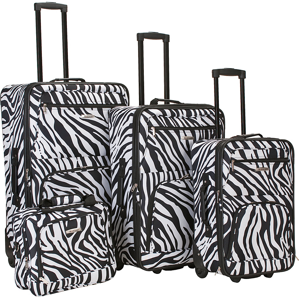 Rockland Luggage 4 Piece Expandable Luggage Set - Zebra - Luggage, Luggage Sets