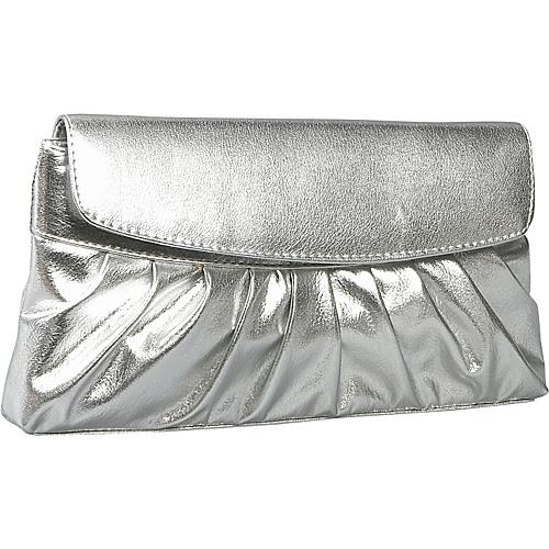 Coloriffics Handbags Pleated Smooth Metallic Evening Bag Silver - Coloriffics Handbags Evening Bags