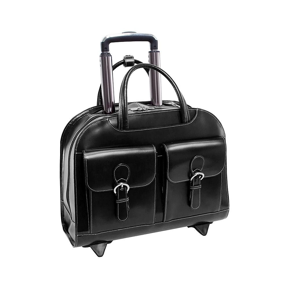 McKlein USA Davis Leather 15.4 Wheeled Ladies Laptop Case Black - McKlein USA Wheeled Business Cases - Work Bags & Briefcases, Wheeled Business Cases