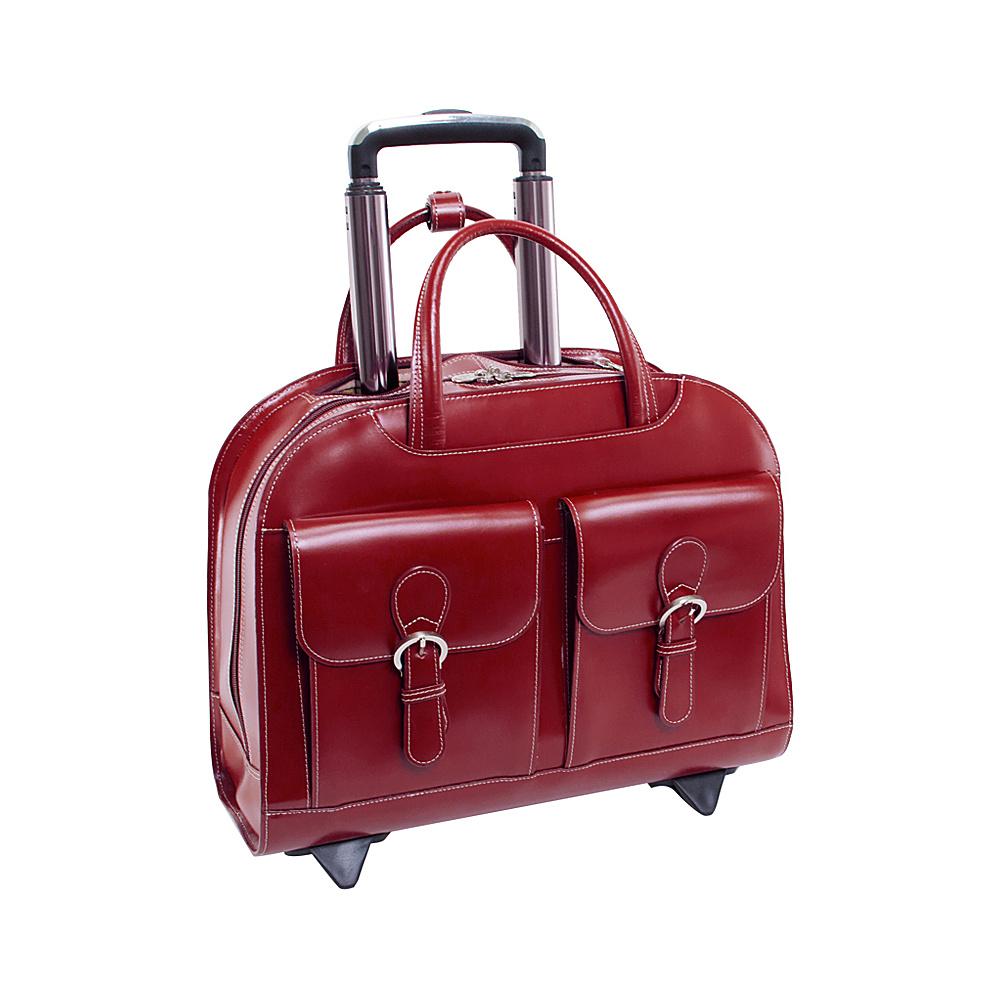 McKlein USA Davis Leather 15.4 Wheeled Ladies Laptop Case Red - McKlein USA Wheeled Business Cases - Work Bags & Briefcases, Wheeled Business Cases