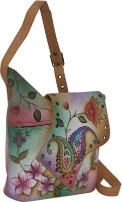 Image of Anuschka Abstract Flap Bag-Wild Hibiscus - Jaipur