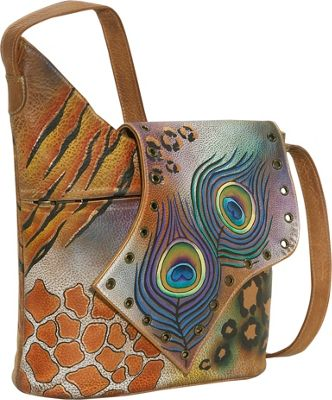 Image of Anuschka Abstract Flap Bag-Premium Peacock Safari