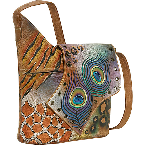 Anuschka Abstract Flap Bag-Premium Peacock Safari