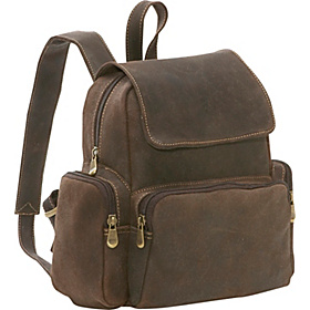 Distressed Leather Womens Multi Pocket Backpack Chocolate