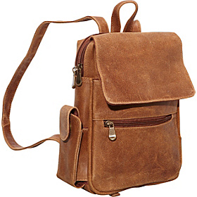 Distressed Leather Womens Backpack/Purse Tan