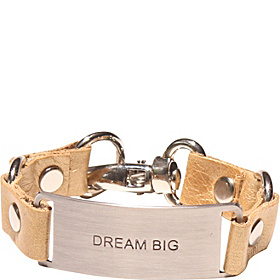 Message Bracelet - Gold Leather/dream Big Gold