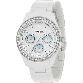 Stella- ladies white chrono with glitz True White